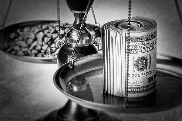 Business Wall Art - Photograph - Cash Versus Gold by Tom Mc Nemar