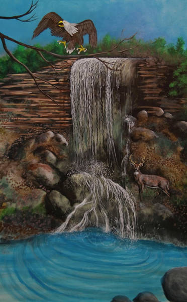 Painting - Casscading Waterfall by Virginia Bond
