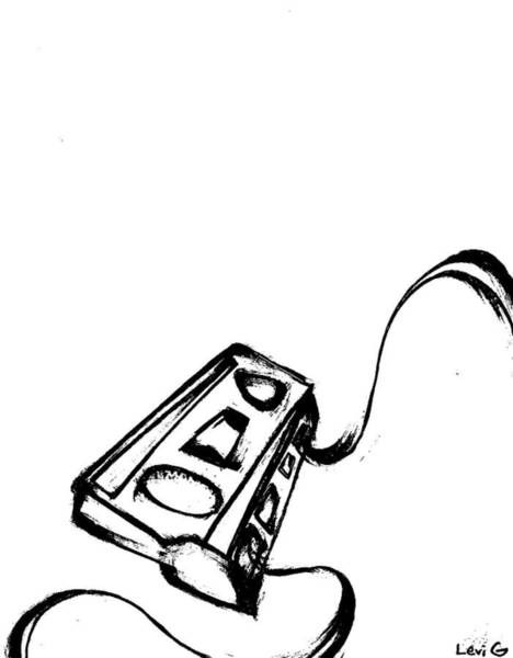 Electronica Drawing - Cassette Unwound by Levi Glassrock