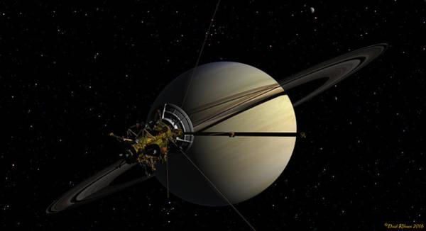 Digital Art - Cassini Orbiting Saturn by David Robinson
