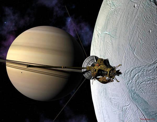 Cassini Passing Enceladus  Art Print