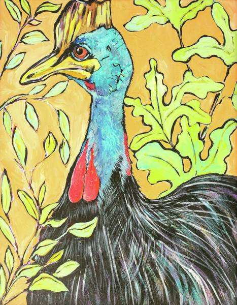 Wall Art - Painting - Cassowary Bird Painted From Zoo Atlanta by Arrin Burgand