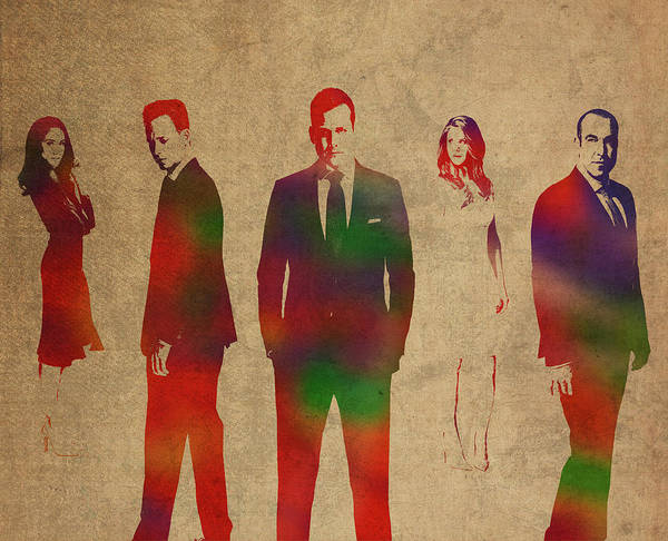 Wall Art - Mixed Media - Cast Of Suits Watercolor Portrait Collage by Design Turnpike