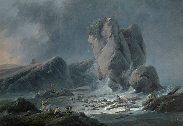 Painting - Castaways Arriving At The Coast by Jean-Baptiste Pillement