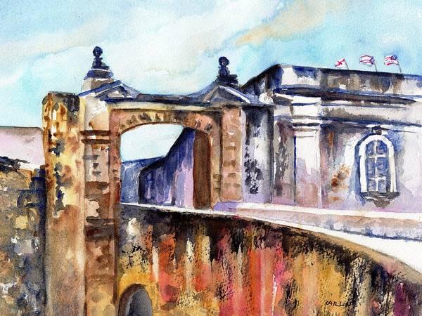 Wall Art - Painting - Castillo De San Cristobal Entrance by Carlin Blahnik CarlinArtWatercolor