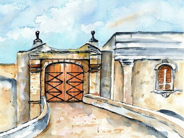 Painting - Castillo De San Cristobal Entry Gate by Carlin Blahnik CarlinArtWatercolor