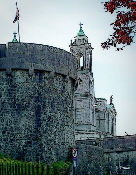 Town Square Digital Art - Castle And Church Athlone Ireland by Teresa Mucha