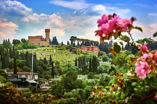 Photograph - Roses And Castle On Green Tuscan Landscape In Florence, Italy by Fine Art Photography Prints By Eduardo Accorinti