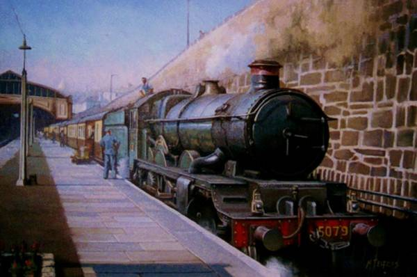 Railway Painting - Castle At Penzance. by Mike Jeffries
