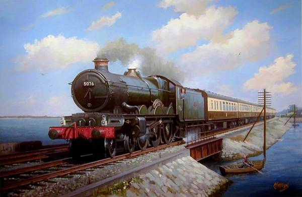 Vintage Train Painting - Castle At Starcross by Mike Jeffries