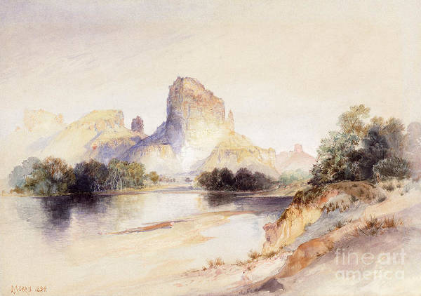 River Bank Drawing - Castle Butte, Green River, Wyoming by Thomas Moran