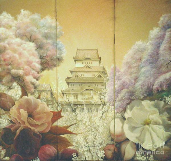 Painting - Castle Himeji - Sakura by Sorin Apostolescu