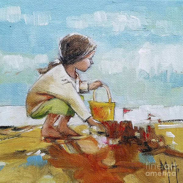 Sand Castle Painting - Castle In The Sand Little Girl Beach by Mary Hubley