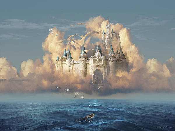Three Dimensional Wall Art - Digital Art - Castle In The Sky by George Grie