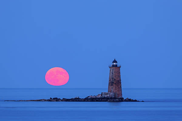 Photograph - Castle Island View Of Whaleback Lighthouse And Full Moon  by Juergen Roth