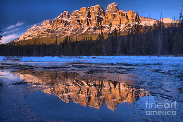 Photograph - Castle Mountain Afternoon Icy Reflections In The Bow River by Adam Jewell