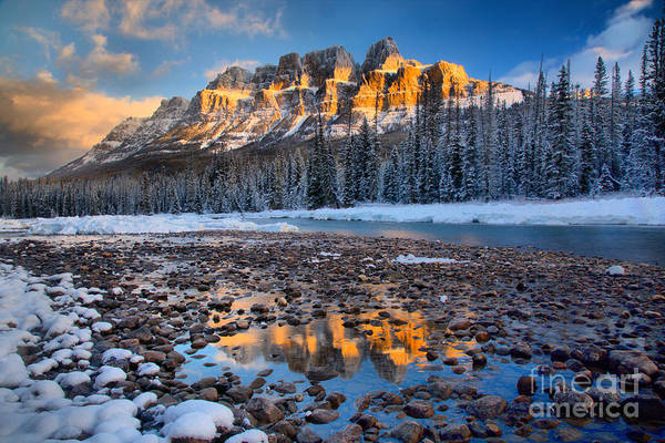 Photograph - Castle Mountain Golden Reflections by Adam Jewell