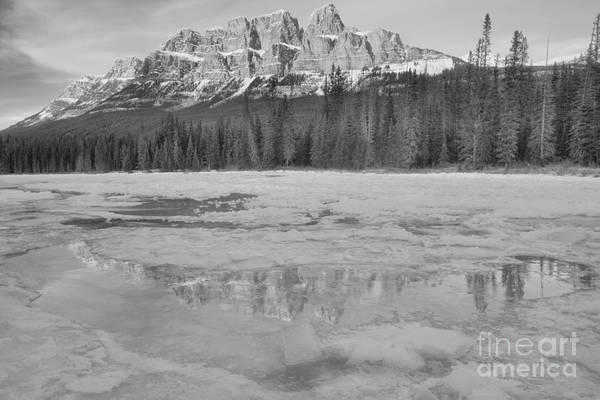 Photograph - Castle Mountain Icy Blue Reflections Black And White by Adam Jewell