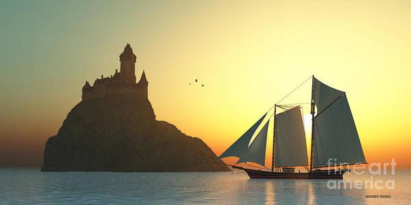 Schooner Digital Art - Castle On The Sea by Corey Ford