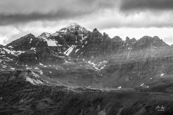 Fourteener Photograph - Castle Peak Black And White by Aaron Spong