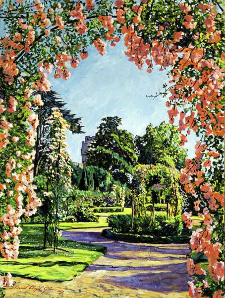 Arbor Painting - Castle Rose Garden by David Lloyd Glover