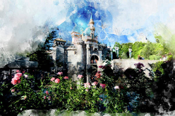 Sleeping Beauty Castle Digital Art - Castle With Roses by Matthew Nelson