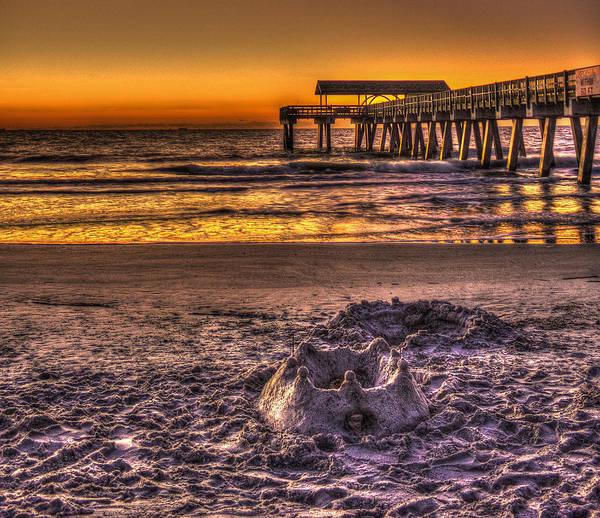 Photograph - Castles In The Sand 2 Tybee Island Pier Sunrise by Reid Callaway