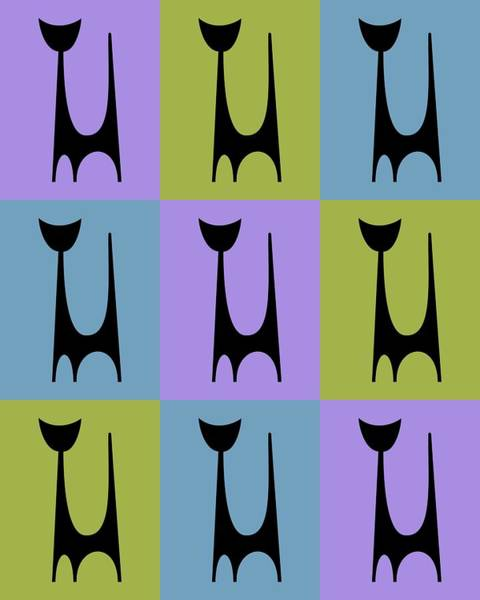 Digital Art - Cat 1 Purple Green And Blue by Donna Mibus