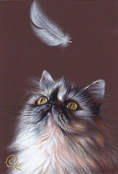 Drawing - Cat And Feather by Elena Kolotusha