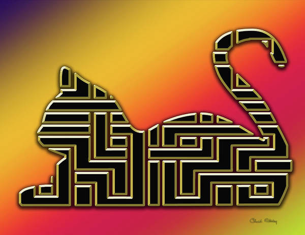 Digital Art - Cat And Gold Screen 2 by Chuck Staley
