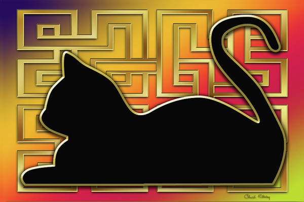 Digital Art - Cat And Gold Screen by Chuck Staley