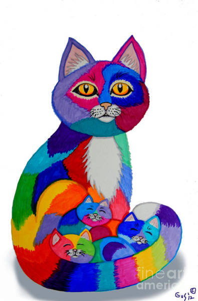Kitten Drawing - Cat And Kittens 2 by Nick Gustafson