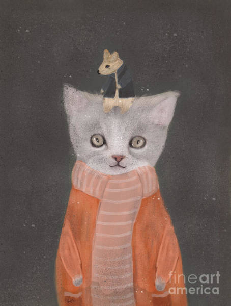 Kitten Wall Art - Painting - Cat And Mouse by Bri Buckley