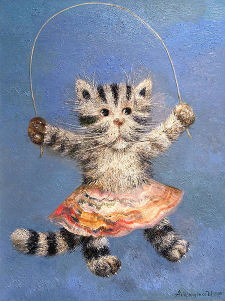 Skip Rope Painting - Cat And Skip Rope by Mikhail Savchenko