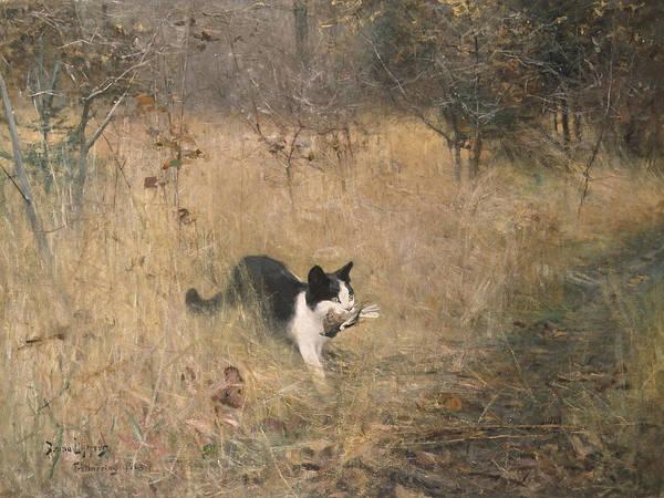 Swedish Painters Wall Art - Painting - Cat Bird Hunting  by Bruno Liljefors