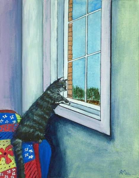 Wall Art - Painting - Cat By The Window by Anastasiya Malakhova