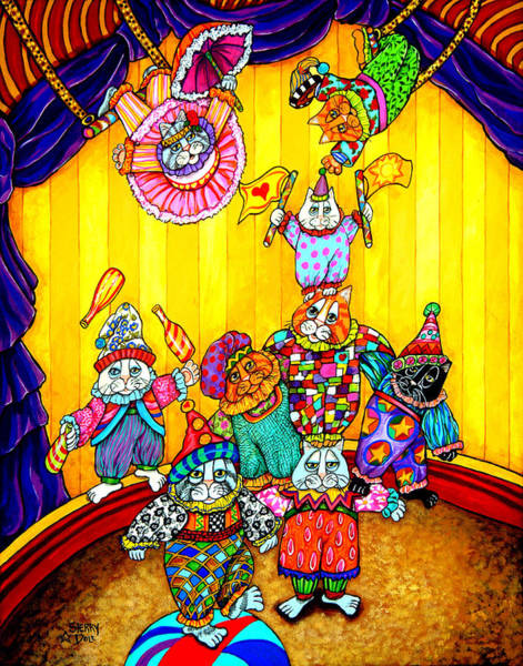 Trapeze Painting - Cat Circus 1 by Sherry Dole