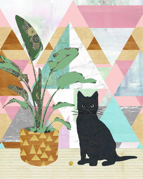 Boho Wall Art - Mixed Media - Cat Collage by Claudia Schoen