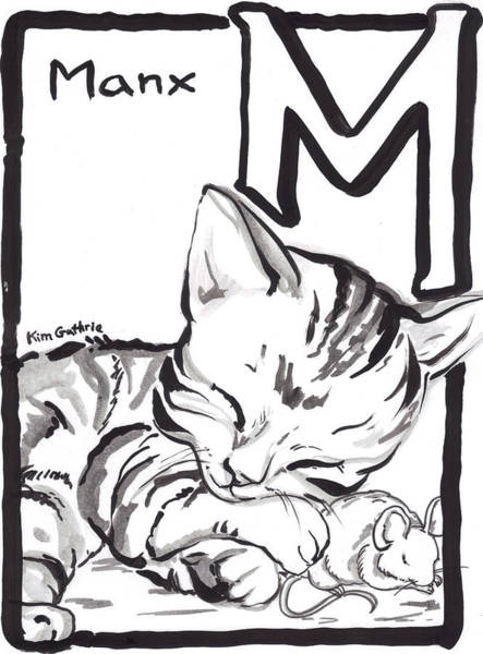 Wall Art - Painting - Cat Drawing Manx With Mouse  by Kim Guthrie