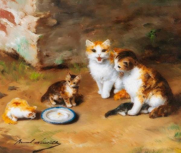 Cat Litter Painting   Cat Family By Alfred Brunel Neuville
