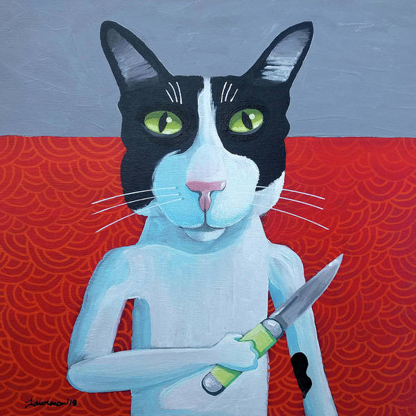 Wall Art - Painting - Cat Fight by Mike Lawrence