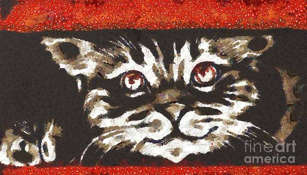 Painting - Cat Fragmented In Thick Paint by Catherine Lott