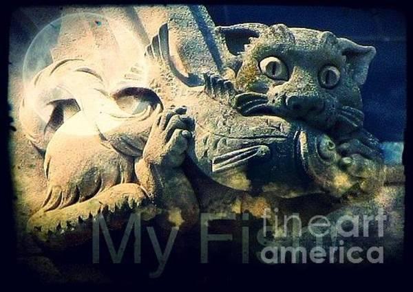 Grotesque Digital Art - Card / Cat Gargoyle / My Fish by Elizabeth McTaggart