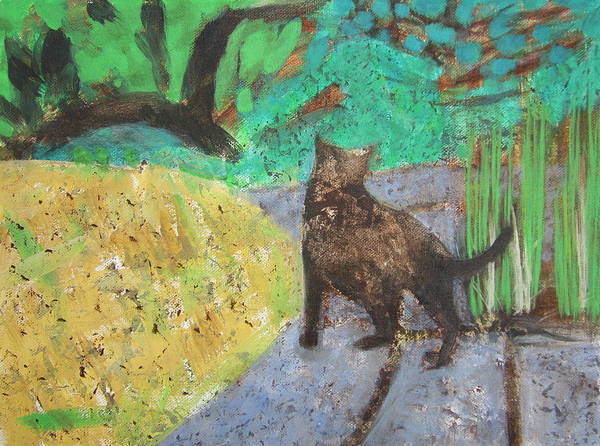 Painting - Cat In A Garden by Kazumi Whitemoon