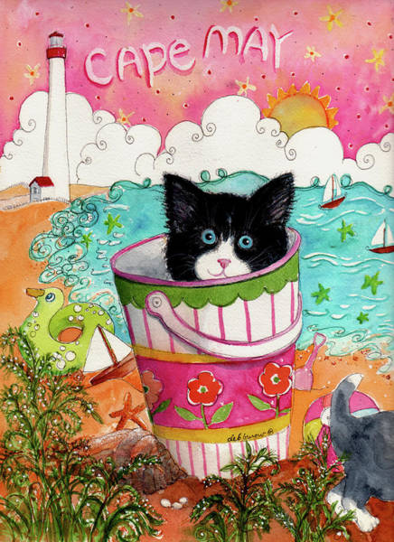 Cape May Painting - Cat In A Pail by Deborah Burow