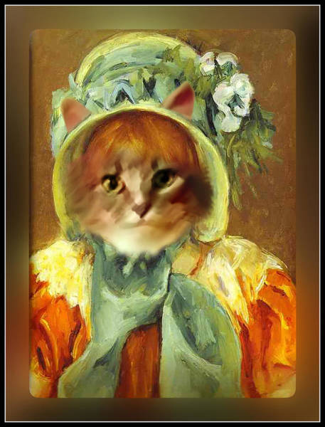 Sara Painting - Cat In Bonnet by Gravityx9 Designs