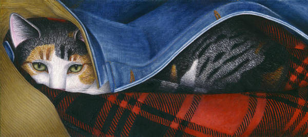 Wall Art - Painting - Cat In Denim Jacket by Carol Wilson