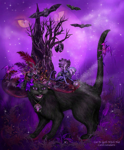 Mixed Media - Cat In Goth Witch Hat by Carol Cavalaris