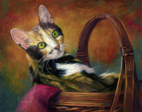 Domestic Cat Wall Art - Painting - Cat In The Basket by Lucie Bilodeau