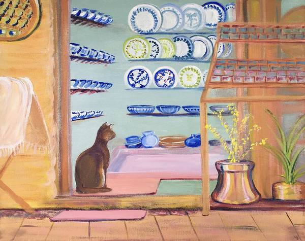 Wall Art - Painting - Cat In The Pottery Shop In Cyprus  by Susan E Brooks
